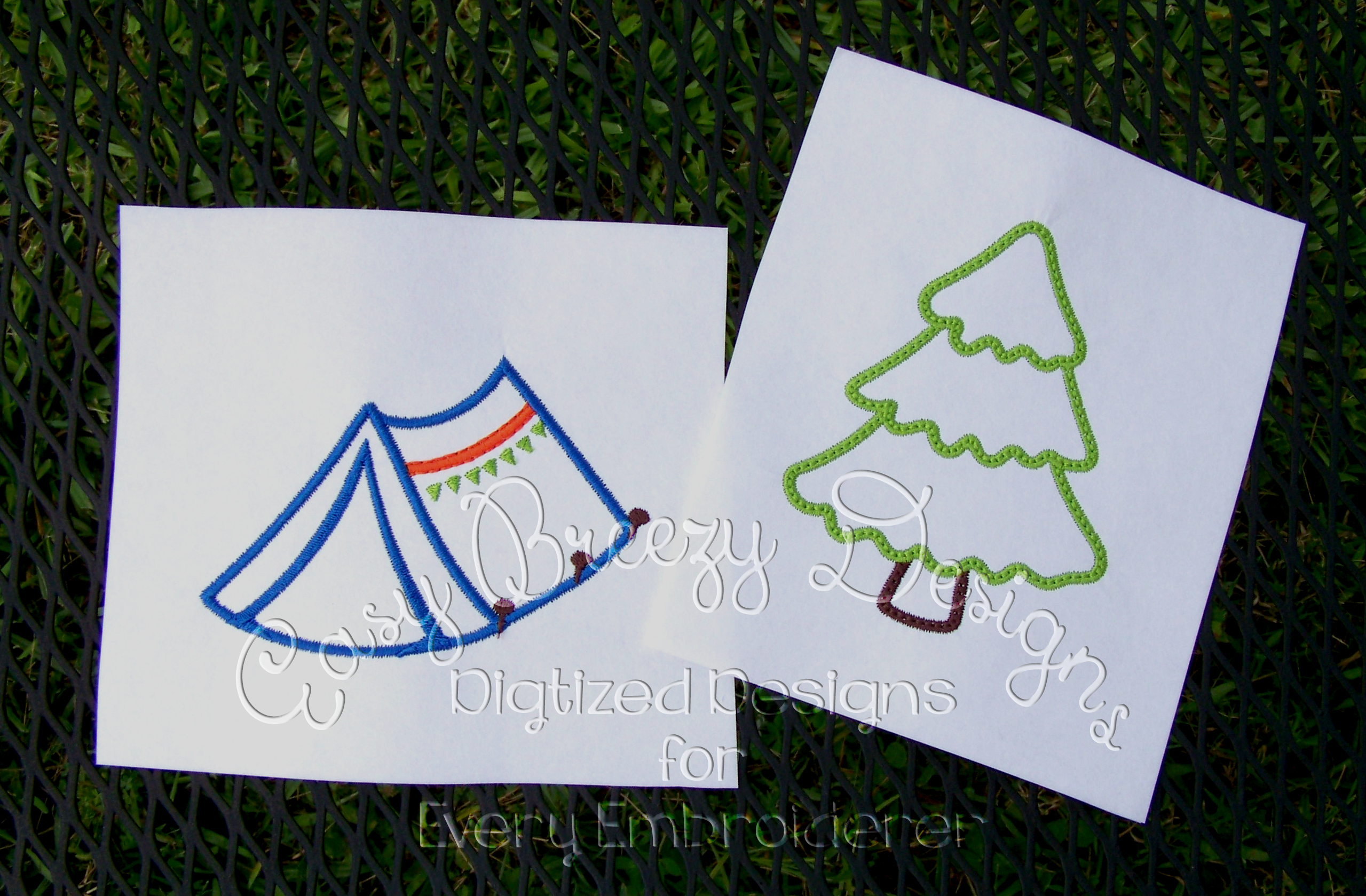 Tree applique design three tier tree design camping embroidery